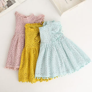 再入荷*新品*フリルレースワンピース*韓国子供服*かわいい*サイズ100~140(ワンピース)