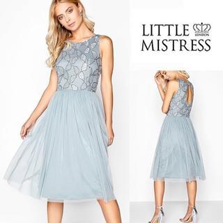 リプシー(Lipsy)のLittle Mistress☆刺繍 ミディ フレア ワンピース ドレス ブルー(ひざ丈ワンピース)
