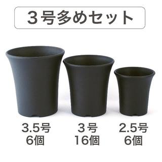 プラ鉢セット【3号多め】2.5号6個・3号16個・3.5号6個[ミニ蘭鉢](プランター)