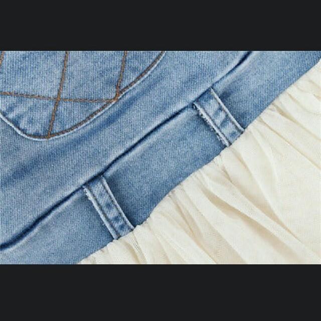 新品 デニム シフォン チュニック ワンピース 80 90 100 女の子 キッズ/ベビー/マタニティのキッズ服 女の子用(90cm~)(ワンピース)の商品写真