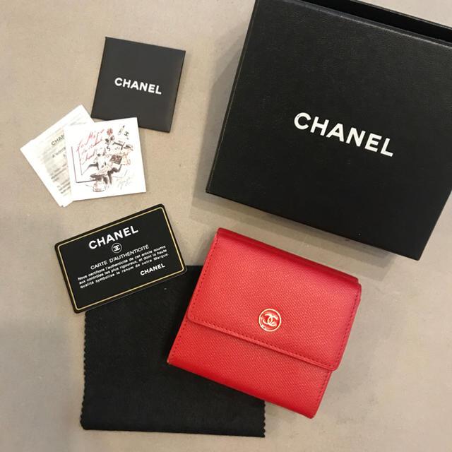 buy popular ddb17 56f9a CHANEL /折りたたみ 財布/ 赤 /シャネル | フリマアプリ ラクマ