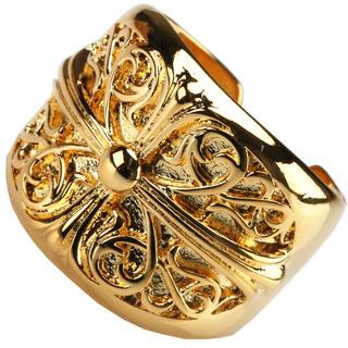 ゴールド オーバルクロスリング、クロムハーツ好きに、ゴールド フローラルリング(リング(指輪))