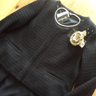 ベルーナ(Belluna)の【美品、新品、未使用】値下げセール!ツイード調ジャケット ブラック 送料込(ノーカラージャケット)