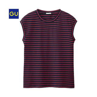 ジーユー(GU)の【美品】ジーユー/GU ボーダーノースリーブTZ サイズS 色ネイビー(Tシャツ(半袖/袖なし))