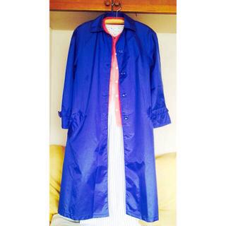 〰ブルーのナイロン薄手コート〰(ロングコート)