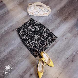 グレースコンチネンタル(GRACE CONTINENTAL)のグレースコンチネンタル レース刺繍スカート(ひざ丈スカート)