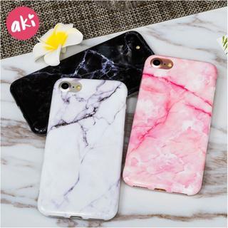 アイフォーン(iPhone)のiPhone ケース カバー 大理石 マーブル 白 黒 ピンク(iPhoneケース)