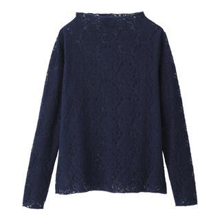ジーユー(GU)の【美品】ジーユー/GU 起毛レースT サイズS 色ネイビー(Tシャツ(長袖/七分))