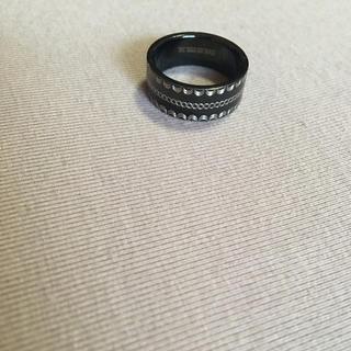 指輪【ユニセックス】【18号】【ステンレス】【黒】【リング】(リング(指輪))