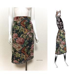 【1点もの・デザイン画付き】ゴブラン織スカート紺(ひざ丈スカート)