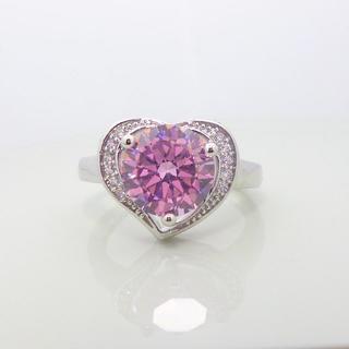 大粒 ピンク ジルコニア リング シルバー 指輪(リング(指輪))