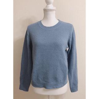 ジーユー(GU)のGU丸首ニットブルー水色長袖ブルーリブシンプル無地(ニット/セーター)