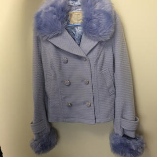 シマムラ(しまむら)のしまむら 水色 コート 未使用 ブルー ファー ピーコート パステルカラー (ピーコート)