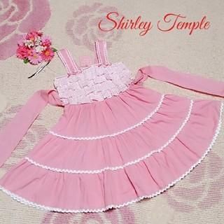 シャーリーテンプル(Shirley Temple)の♡270♡シャーリーテンプル♡ドット♪レースライン♪サンドレス♪♡120cm♡(ワンピース)