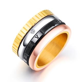 ステンレス素材 CZダイヤローマ字回転リング(リング(指輪))