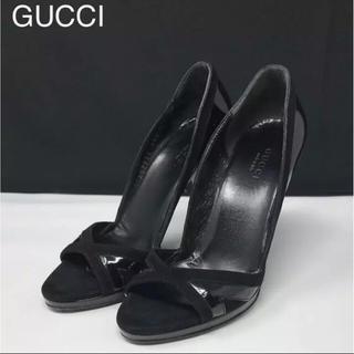 グッチ(Gucci)の正規品 グッチ スエード×パテントレザー オープントゥ ブラック(ハイヒール/パンプス)