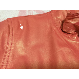ザラ(ZARA)の【確認用】   新品 元値6万   ライダース   羊革   オレンジ   光沢(ライダースジャケット)