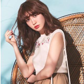 リランドチュール(Rirandture)の新品タグ付き♡刺繍ノースリニット ピンク 2(ニット/セーター)
