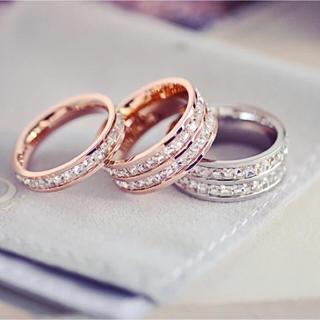 373 2連☆キラキラスワロ!サイズ充実!チタンステンレス製リング指輪(リング(指輪))