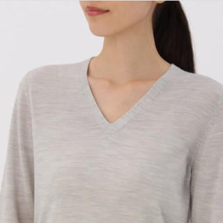 ムジルシリョウヒン(MUJI (無印良品))の無印 ウールシルク Vネックセーター 新品(ニット/セーター)