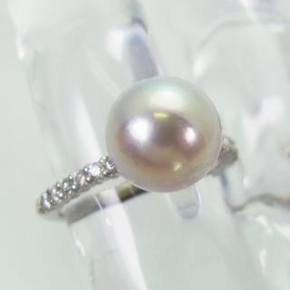 Pt900 アコヤ本真珠(パール) ダイヤモンド リング 9号[f108-1] (リング(指輪))
