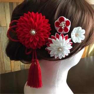 ♯166 半くす ちりめん髪飾り/5個セット 紅白(ヘアアクセサリー)