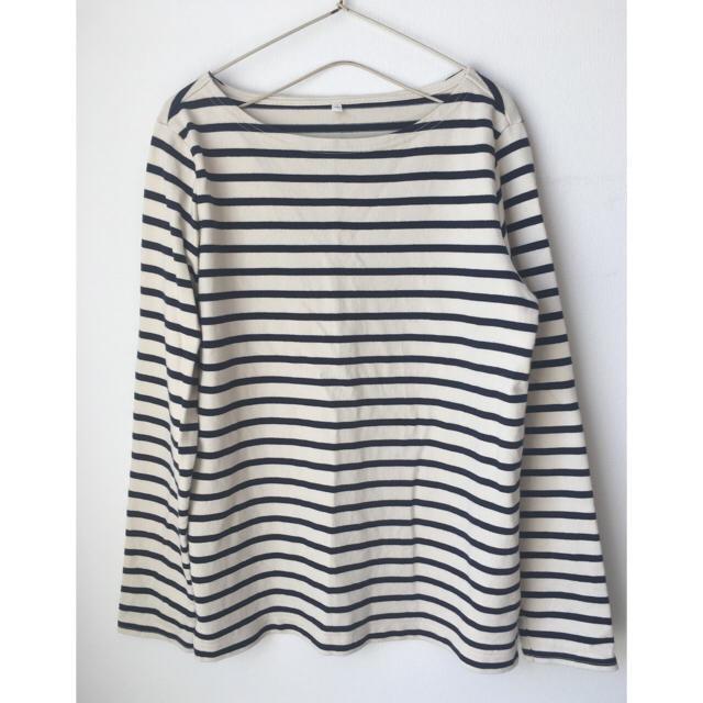 MUJI (無印良品)(ムジルシリョウヒン)の無印良品 オーガニックコットン 太番手 ボーダー 長袖 Tシャツ バスクシャツ レディースのトップス(Tシャツ(長袖/七分))の商品写真