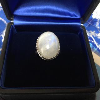 大粒天然ブルーレインボーシラー石リング(リング(指輪))
