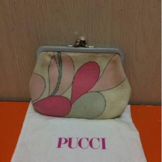 エミリオプッチ(EMILIO PUCCI)の本物エミリオプッチの白ピンク系のコインケースがま口 保存袋あり (コインケース)