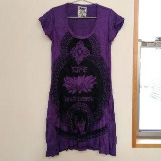 ロータス柄ワンピース(M) 紫 コットン100% ヨガウエアにも。体型カバー(ヨガ)