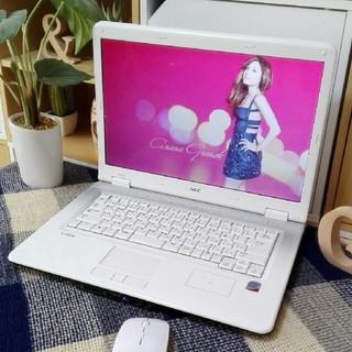 エヌイーシー(NEC)の極美品LaVie可愛い白windows10メモリ4大容量Wi-Fiマウス 無線(ノートPC)