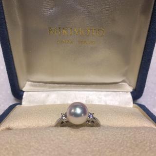 ミキモト(MIKIMOTO)の【極美品】ミキモト 8mm アコヤ パール ダイヤモンド リング Pt950(リング(指輪))