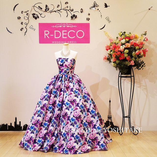 ウエデイングドレス パープル花柄 披露宴/二次会ドレスとして レディースのフォーマル/ドレス(ウェディングドレス)の商品写真