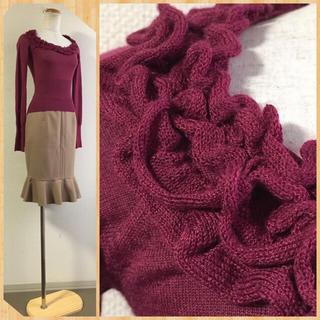 マンゴ(MANGO)のSサイズ/ウール100%スカート&フリル襟長袖ニット2点コーデセット(セット/コーデ)