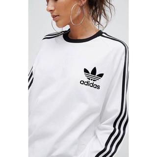 アディダス(adidas)の【 Lサイズ】adidas 新品タグ付  3ストライプ ロングTシャツ 白(Tシャツ(長袖/七分))