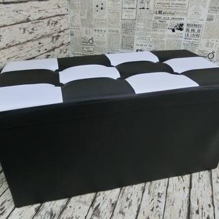 ●新品● ストレージスツールボックス 76 ×38 ×38cm A-ブラック(オットマン)