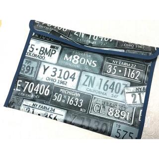 連絡帳袋 男の子用 ラミネート  A4横型 アメリカンナンバープレート(外出用品)