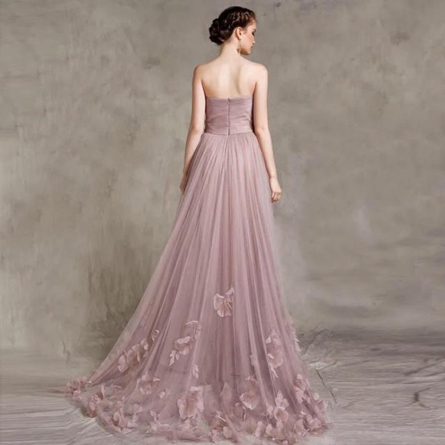 0816be066428d ウエディングドレス トレーンチュールドレス パーティードレス、披露宴二次会ドレス レディースのフォーマル ドレス