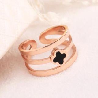 14Kピンクゴールド鍍金 ブラッククローバー3連リング(リング(指輪))