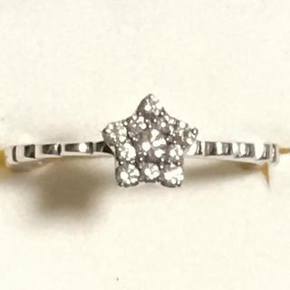K18ホワイトゴールド ダイヤのお星様リング(リング(指輪))