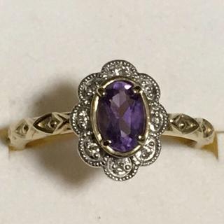 pt900 K18 アメジストとダイヤのクラシカルリング(リング(指輪))
