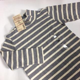 ムジルシリョウヒン(MUJI (無印良品))の【m*様専用です】キッズ100  ボーダーハイネック長袖Tシャツ(Tシャツ/カットソー)
