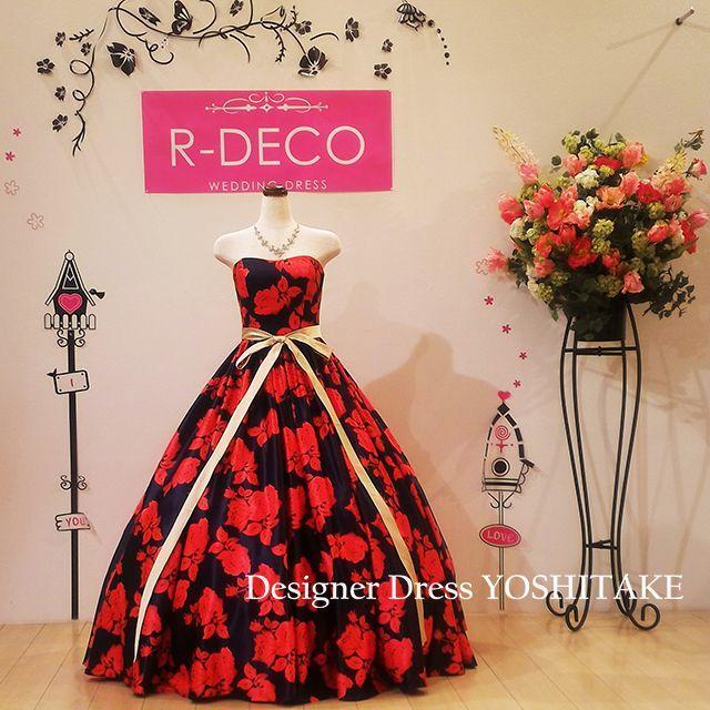 ウエディングドレス ネイビー&レッド花柄ドレス/披露宴/二次会 レディースのフォーマル/ドレス(ウェディングドレス)の商品写真