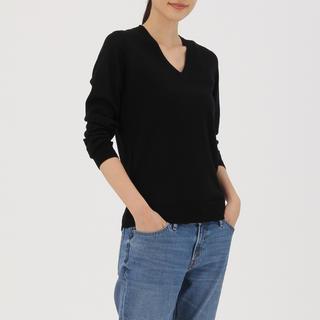 ムジルシリョウヒン(MUJI (無印良品))の無印良品 ウールシルク洗えるVネックセーター ブラック(ニット/セーター)