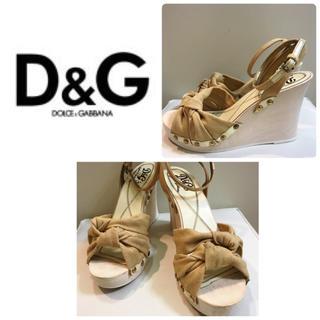 ディーアンドジー(D&G)の専用ページですD&G♡ベージュ キャンバス スタッズ ウエッジ サンダル♡(サンダル)