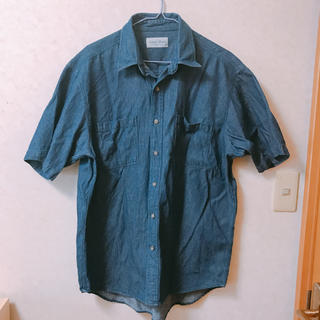アクアブルー(Aqua blue)の半袖ダンガリーシャツ Lサイズ(シャツ/ブラウス(半袖/袖なし))