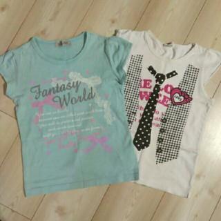 シマムラ(しまむら)のしまむら 他… Tシャツ 2枚セット 130 ラメプリント パフスリーブ 半袖(Tシャツ/カットソー)
