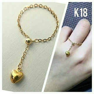 a♡様 K18 スライドハートチェーン リング 18金(リング(指輪))