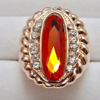 訳ありオレンジストーンのゴージャスピンクゴールドリング指輪(リング(指輪))
