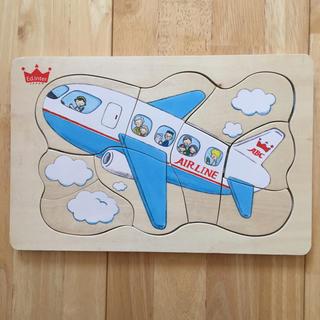 木製 パズル エドインター 飛行機 こども 男の子 おもちゃ ナチュラル (知育玩具)